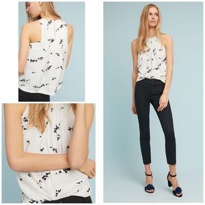 Anthropologie linen embroidered tank